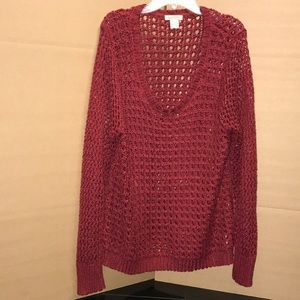 RED knitted long sleeve, L